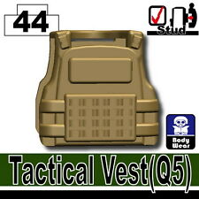 Dark Tan Q5 (W62) Tactical Army Vest compatible with toy brick minifigures SWAT