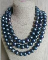 """Huge  50"""" AAA 12MM natural black south sea baroque PEARL NECKLACE 14K Gold Clasp"""