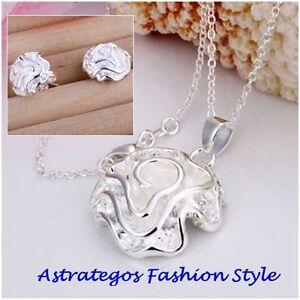 Schmuckset Halskette mit Rose-Anhänger und Steckohrringen in Silber plattiert