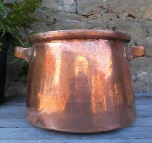 antique copper saucepan, marmite, 23 cm. diam;  French, 2 handles