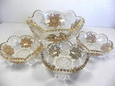 Antique Gold Gilt Cut Glass Berry Bowl Set Pinwheel Master Bowl +  3 Individual