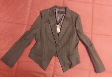 BCBG MAXAZRIA NEW Chic Gray Striped Tuxedo Jacket Blazer Coat L $413