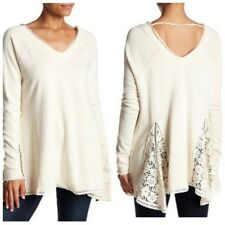 Free People Ivory No Frills Lace Insert Pullover S,L