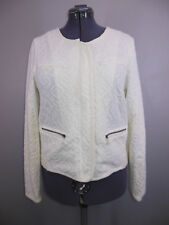 Moth Anthropologie White Quilted Jacquard Jacket Blazer Size Large L Crochet