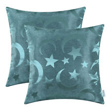 "2Pcs Teal Cushion Covers Pillows Case Modern Stars Moon Home Sofa Decor 18""X18"""