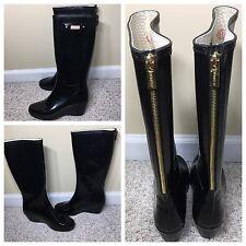 Hunter Women's Black Rain boots Calf Zip Sz.7