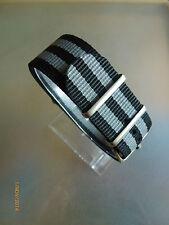 Relojes pulsera nailon 24 mm negro/gris otan banda hebilla textil