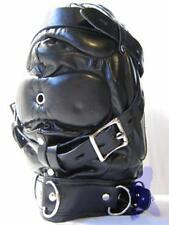 Black Leather Padded Costume Hood Sensory Deprivation Mask Restraint Gear +Locks