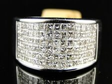 NEW MENS WHITE GOLD PRINCESS CUT DIAMOND 13 MM WEDDING BAND CHANNEL RING 2.1 CT
