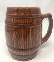 Vintage McCoy Brown Barrel Mug #397 Coffee Cup.  Beer  Stain.