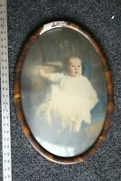 Antique picture frame wood gesso 21 x 8 shabby chic concave bubble glass ornate