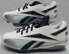 New Mens 9.5 Reebok RBK NFL Thorpe Low D Navy Whit Silver Football Cleats Shoes