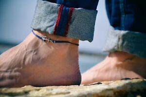 Men's anklet silver plated anchor blue cord ankle bracelet for man gift for him