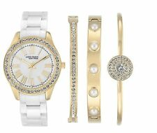 Anne Klein Women's 12/2256GBST Ceramic Gold Tone Watch Bracelet Set Gift