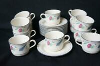 22 Pcs  Lenox Poppies On Blue,  12 Coffee Cups, 10 Saucers