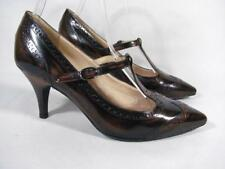 Fiesta Milano Brogue T Bar Mary Jane Pump Women size 37/6-6.5 Brown Leather