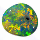 EXCEPTIONAL ORANGE-GREEN-MULTI 1.28ct 8x7mm SOLID BLACK OPAL LIGHTNING RIDGE