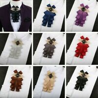 Men Pre-Tied Ribbon Rhinestone Neck Bow Tie Necktie Bow Knot Wedding Dinner Chic