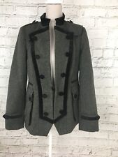 Per Una Women's Coat Long Sleeve Smart Black Wool Button Fasten Size UK 12 US 8