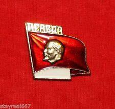 "Authentic Soviet USSR Propaganda Pin Badge VLADIMIR LENIN ON RED FLAG ""PRAVDA"""
