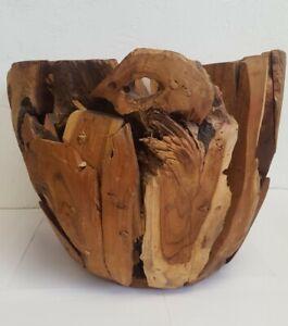 Pottery Barn San Francisco Large Teak Root Wooden Bowl Reclaimed Teak Wood Decor