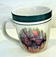 Cabela's Woodland Moose Folkcraft Stoneware LARGE Coffee Mug / Cup