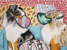 Miniature Aussie Quarantine 13x19 Dog Art Print Collectible Signed Artist Ksams