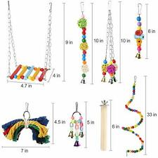 8 Packs Pet Bird Parrot Parakeet Budgie Cockatiel Cage Bite Hanging Hammock Toys
