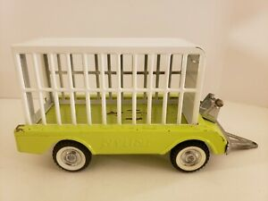 Vintage 1960s Nylint Jungle Safari Hunt Light Green Pressed Steel Trailer & Cage