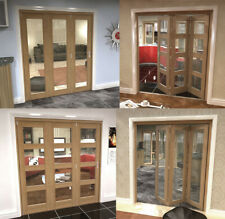 Unfinished Oak Internal Bifold Doors Top Hung with Base Track Various Options