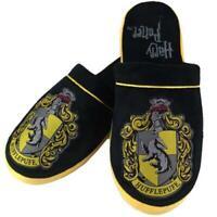 Mens Harry Potter Slippers Hogwarts Hufflepuff House Crest Adult Mules Size 8-10