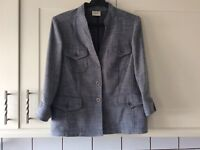 Ladies size 12  blue mix linen look jacket by Viyella