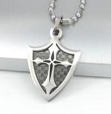 Da Uomo in Acciaio Inox Argento Nero Cavalieri Templari Collana Catena Croce pendente a