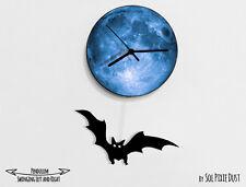 Halloween Bat Swinging on Moon - Pendulum Wall Clock