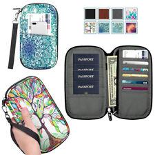 Family Travel Wallet Passport Holder RFID Blocking Document Organizer Bag Case