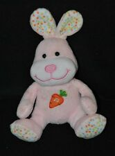 Peluche doudou lapin musical GIPSY rose blanc à pois carotte brodée 18 cm TTBE