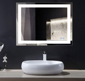 D-HYH 36 x 28 in Horizontal LED Bathroom Silvered Mirror with Touch Button