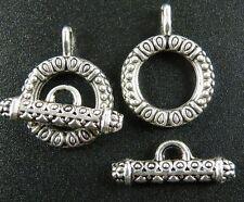 50sets Tibetan Silver Ornate Circle Toggle Clasps 23x17.5x3mm 211