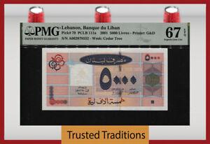 TT PK 79 2001 LEBANON BANQUE DU LIBAN 5000 LIVRES PMG 67 EPQ SUPERB GEM UNC.