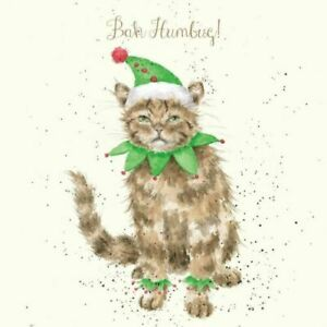 Wrendale Christmas Card cat bah humbug