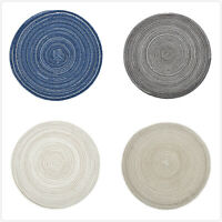 4pcs Round Jacquard Weaved Non Slip Insulation Placemats Dining Table Mats Set