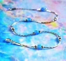 Anklet Opal Solid 925 Sterling Silver Chain blue Ankle Bracelet Made in Uk 10''