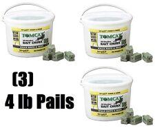 (3) pails Tomcat 32444 4 Lb, 1 oz, Chunx Mice and Rat Rodent Bait Chunks