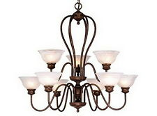 Weathered Patina With Alabaster Glass 9 Light Chandelier