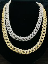 14k Gold Finish 12mm Square Miami Cuban Baguette Simulated Diamond Hip Hop Chain