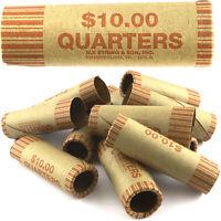 36 ROLLS PREFORMED QUARTER COIN WRAPPERS TUBES 25 CENT Shotgun Counter Paper