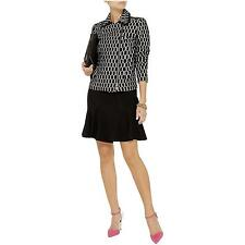 $475 NWT DVF black and white leather trimmed zipped jacquard jacket Sz 6
