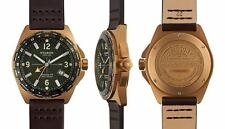 NWT Filson Journeyman GMT Green Face Brown Leather Band 44mm Watch F0110000319