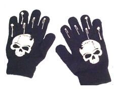 Gothic Stretch Winter Unisex BLACK SKULL GLOVES Punk Pirate Biker-Kids Teen Size