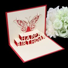 3D Pop Up Card Butterfly Happy Birthday Gift Greeting Cards Invitations Handmade